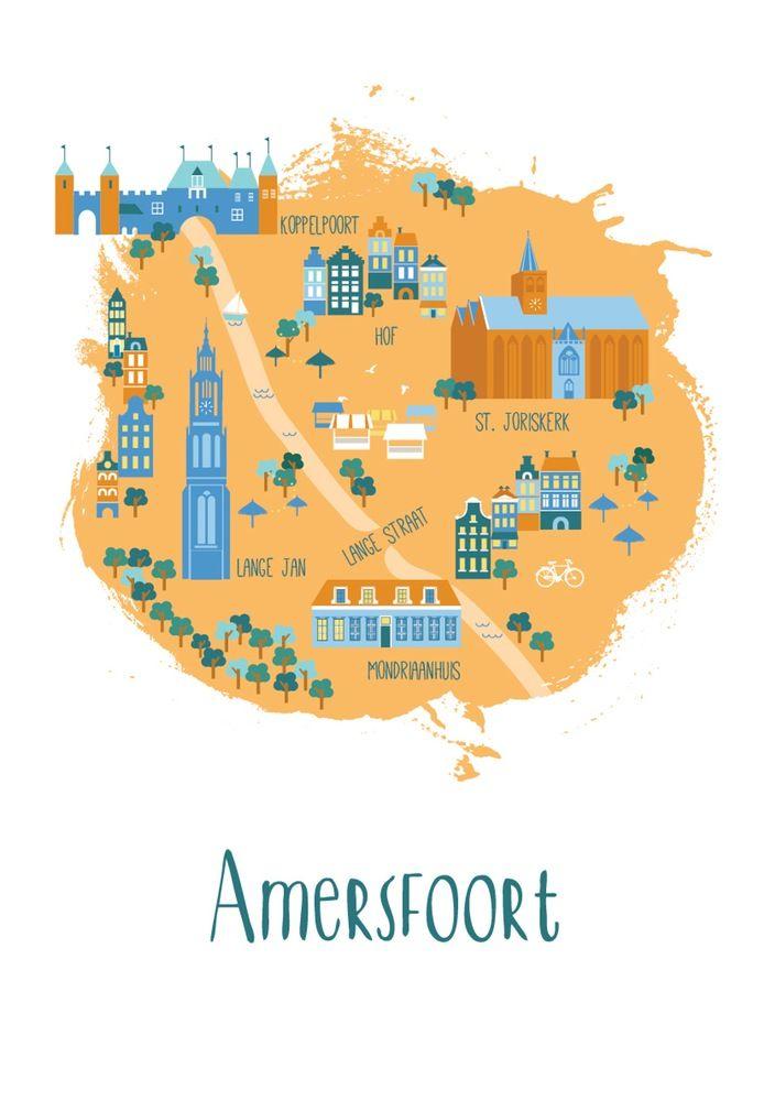 Illustrted city mp mersfoort City maps and City