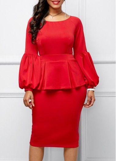 back slit peplum waist lantern sleeve dress rosewecom