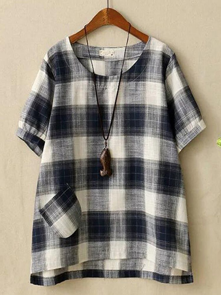 d95b79fd49bad Women Cotton Linen Plaid O-neck Short Sleeve Blouse in 2019 ...