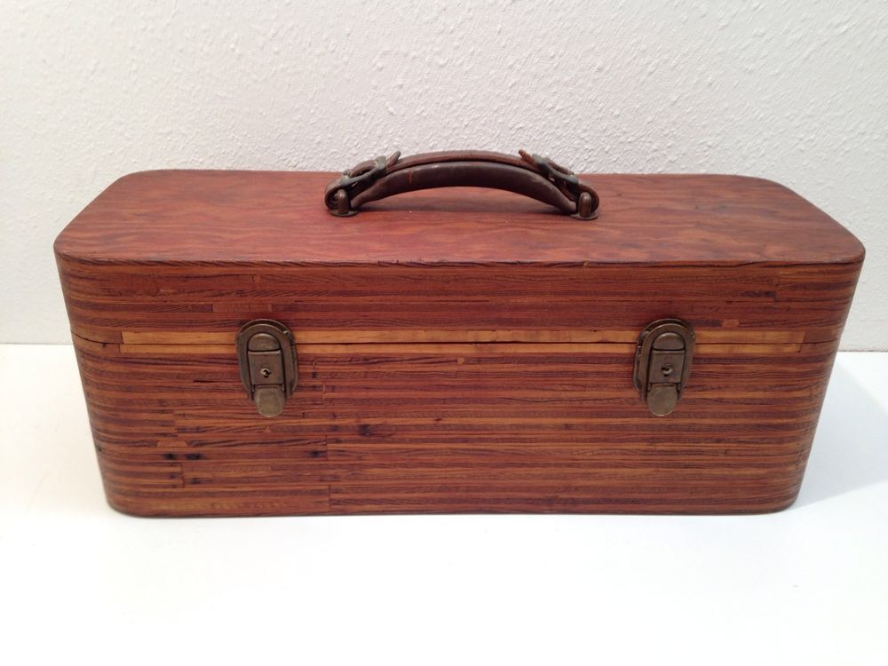 Antique Hand Made Nice Wooden Fishing Tackle Box Rounded Corners
