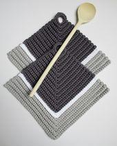 Photo of 1 Paar Topflappen 18 x 18 cm ☀ grau ☀ reine Baumwolle, gehäkelt von Miss_Iso,  #Baumwolle #ge…