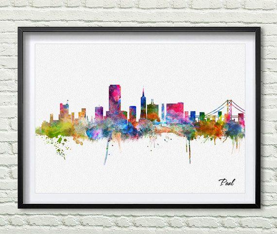 San Francisco Skyline City Watercolor Art Print By Paulartprint Watercolor Art Prints Poster Prints Watercolor Art