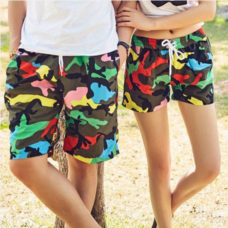 35d442bb37 Couple Board Shorts Swimwear Quick Dry Camouflage Swimsuits Sports Beach  Surf Short Women Lovers Swim Beach Shorts Men Trunks