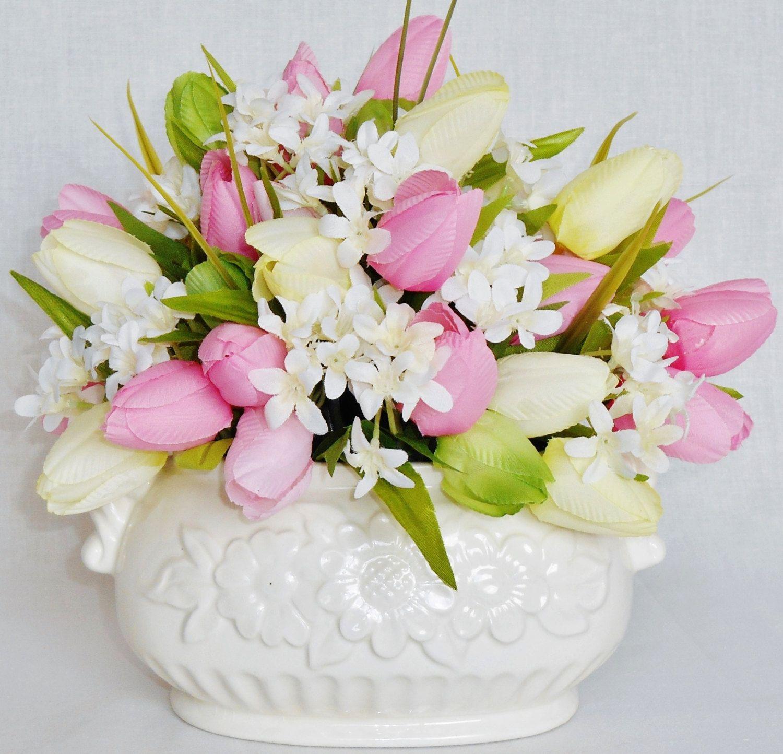 Artificial Flower Arrangement Pink Yellow Amp Green Crocus Cream Star Jasmine Cream Vase Silk