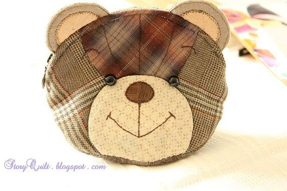 Digital PDF Pattern tutorial of  Japanese patchwork teddy bear quilt bag / zipper pouch sewing  purse ebook patchwork quilt sewing