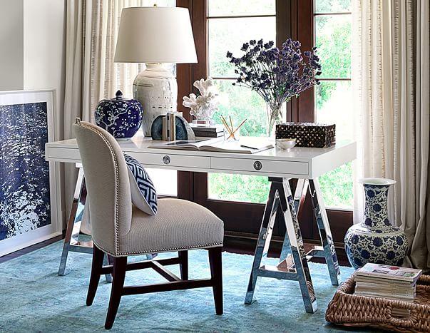 Master Bedroom Beach Chic Williams Sonoma Mason Wood Top Desk Ebony 1 995 White