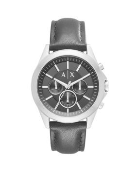Armani Exchange AX Black Mens Drexler Chronograph Leather Strap Watch