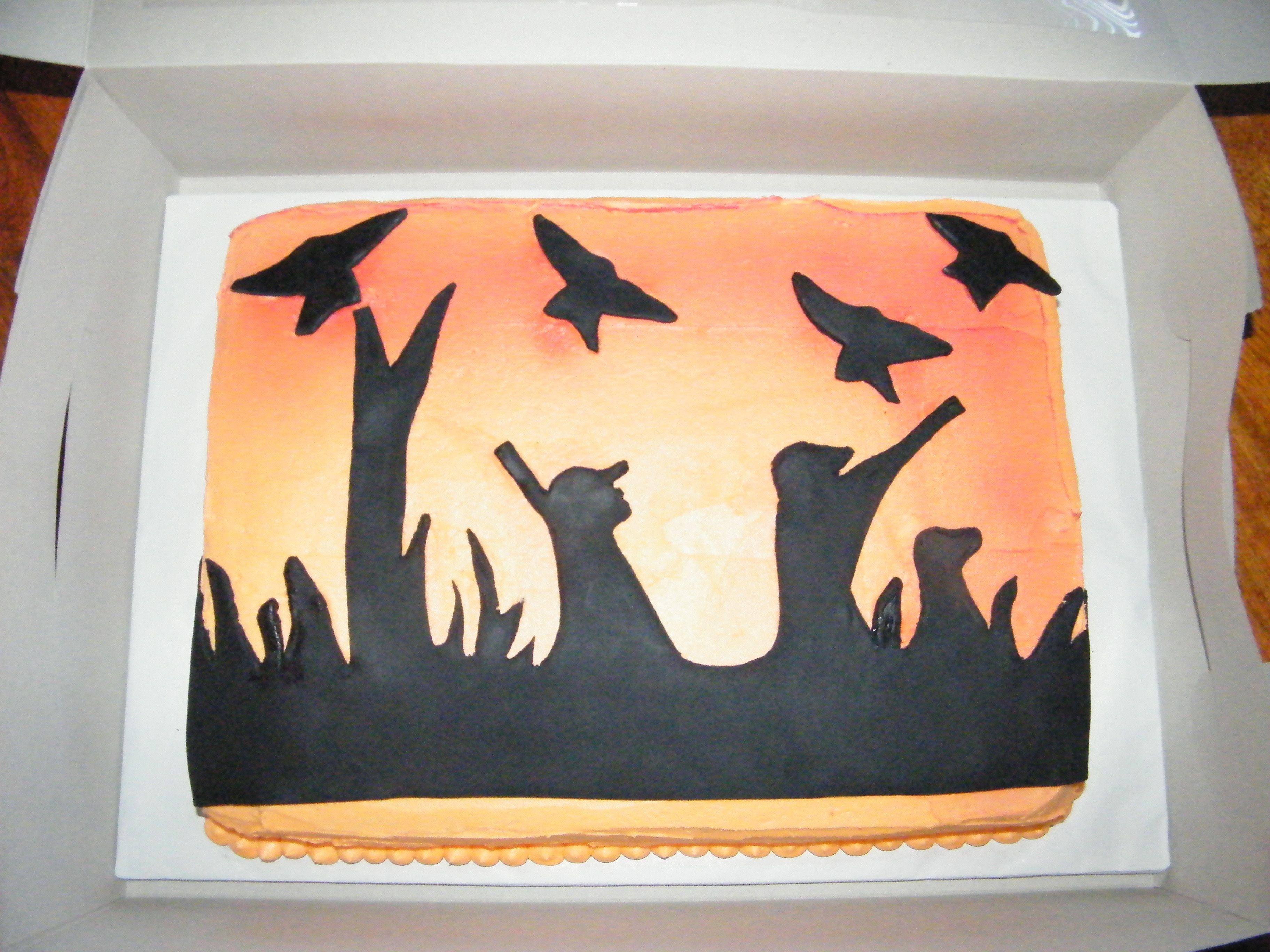 - Bday cake for avid duck hunter. Fondant silhouette ...