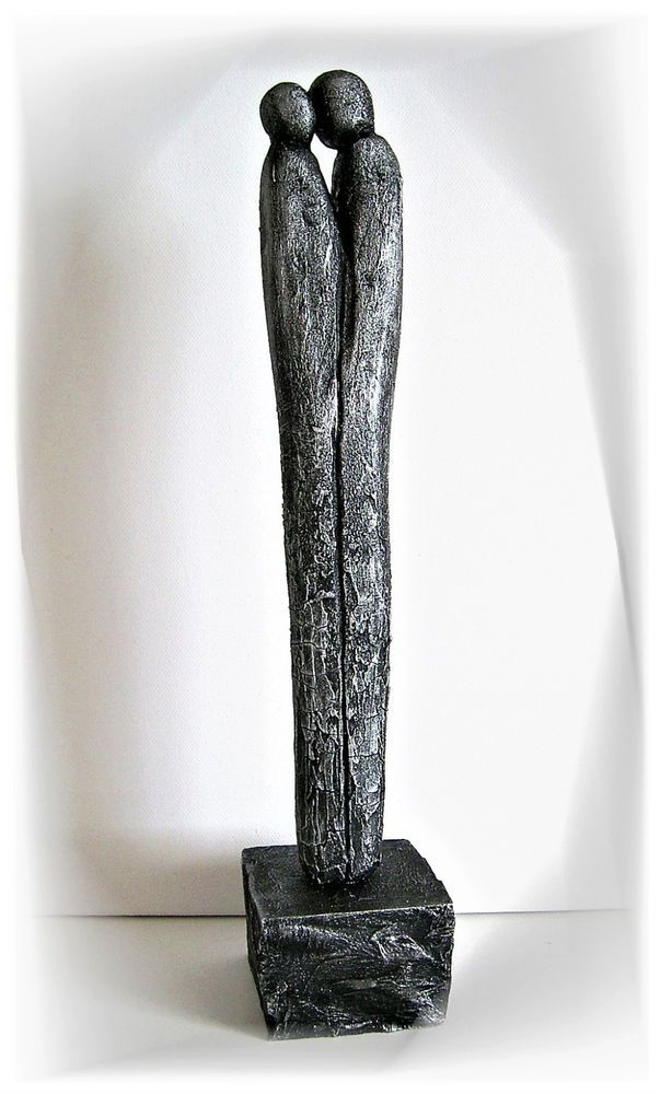 moderne skulptur silber paar deco figur abstrakt menschen unikat