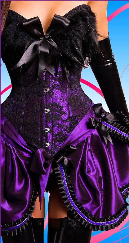 LONG BLACK CORSET GLOVES SATIN  Purple Ribbon Costume Goth Emo Burlesque