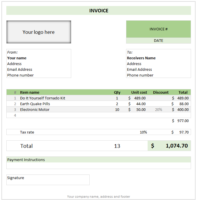 free invoice template using ms excel - download | awesome excel, Invoice examples