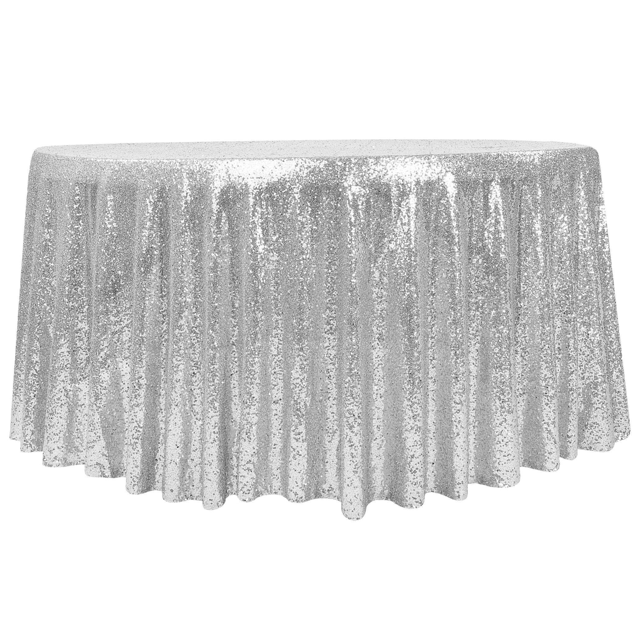 "Glitz Sequin Mesh Net Tablecloth 116"" Round Silver in"