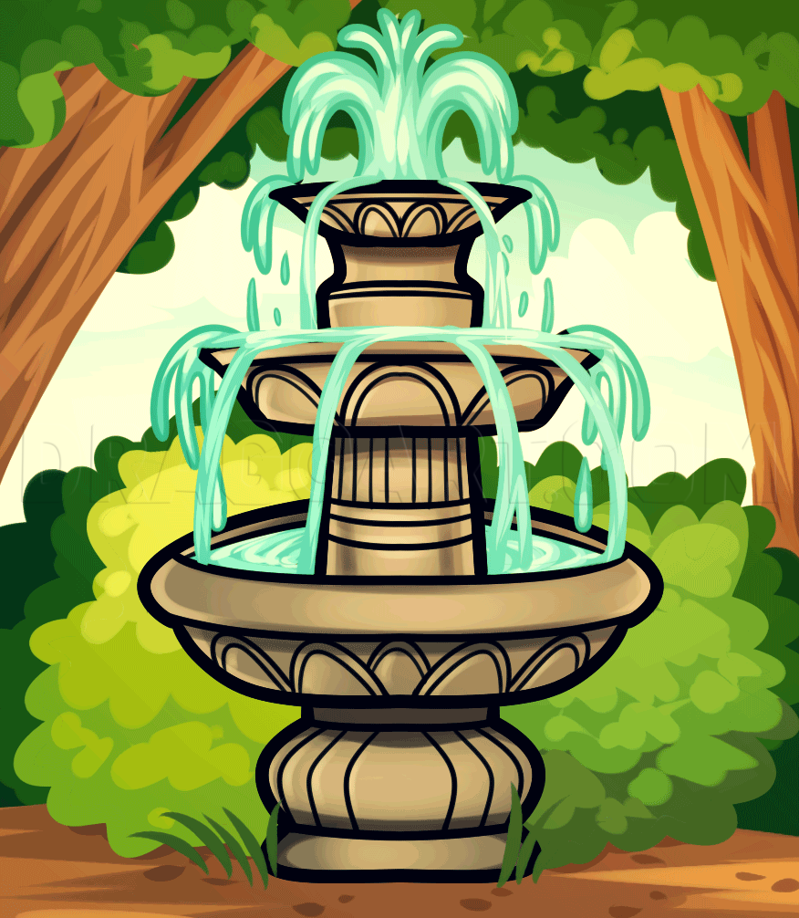 Isn T This Water Fountain Beautiful Whenever I Get A Chance I Love Watching The Stream Of Water Flow From The Very Beautiful Water Fountain Fountain Drawings