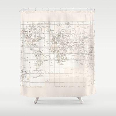 Cream On White World Map Shower Curtain Historical Map Travel