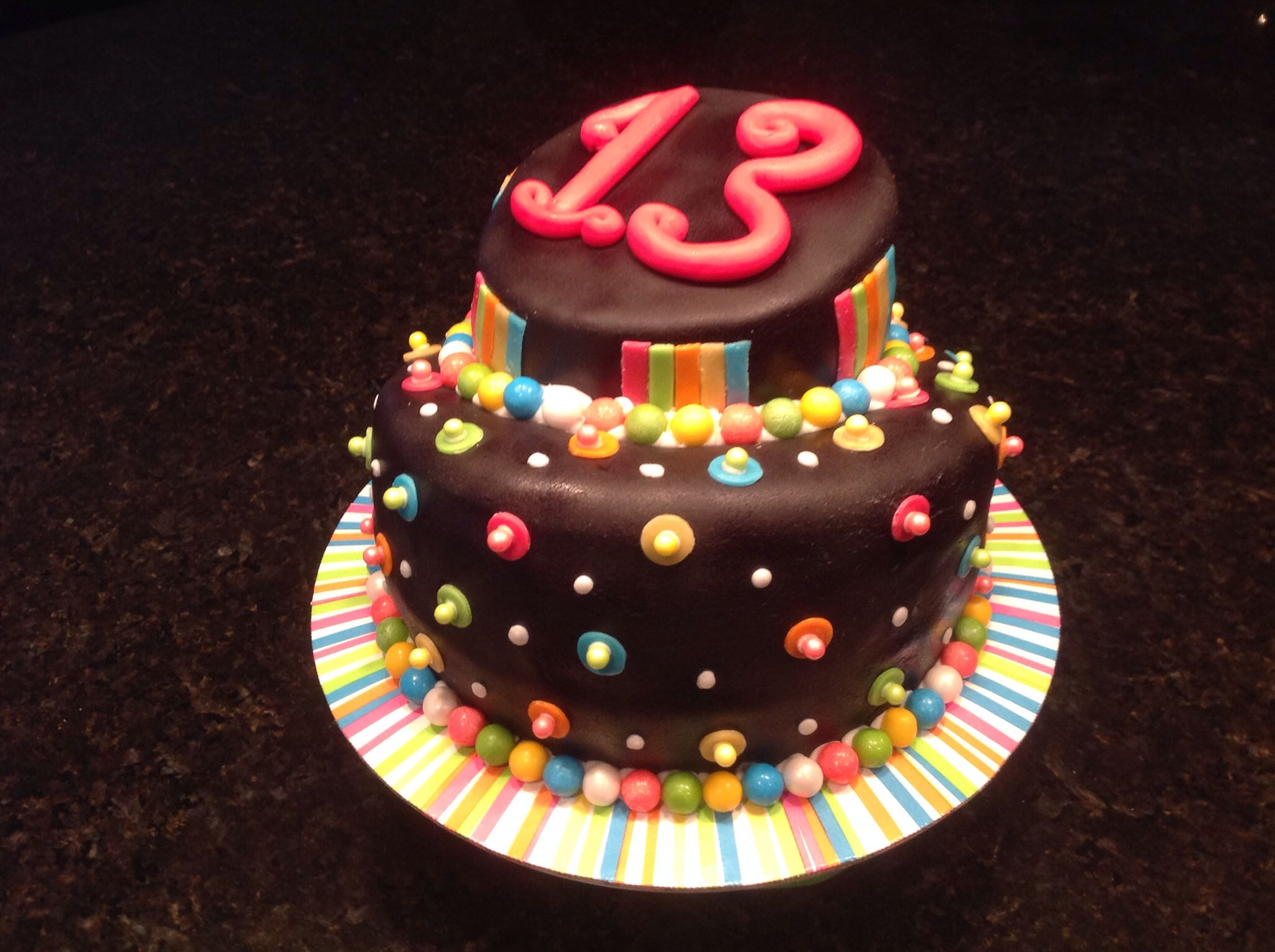 13 Year Old Twins Cake To Match Their Birthday Invitations With