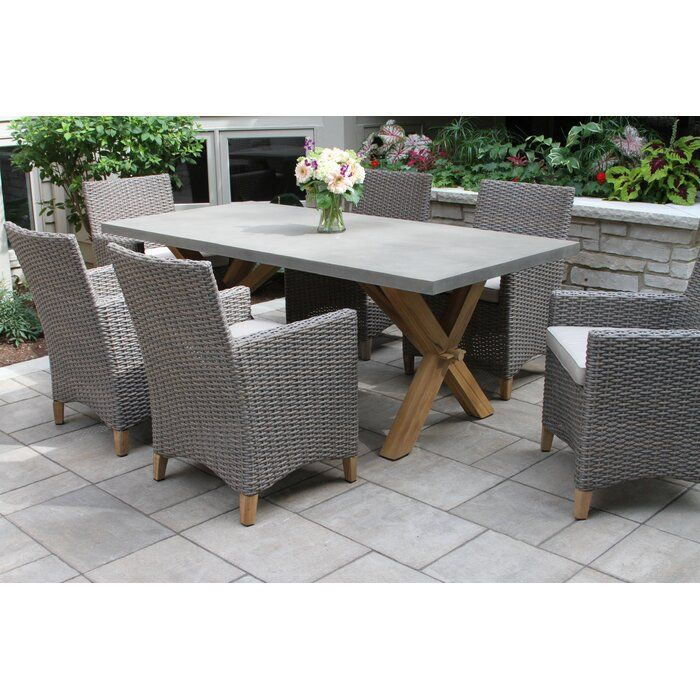 Mcnab 7 Piece Teak Dining Set With Sunbrella Cushions Reviews Birch Lane Patio Dining Set Outdoor Furniture Sets Teak Outdoor