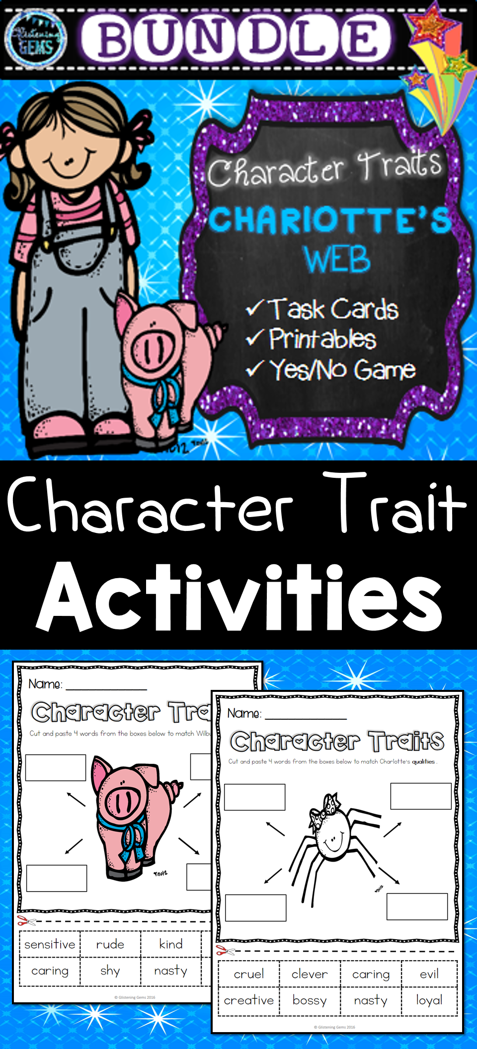 Charlotte\'s Web - Character Traits Bundle