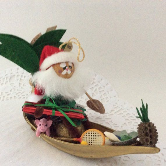 Christmas Ornament - Santa - Hawaiian Christmas - Holiday Decor