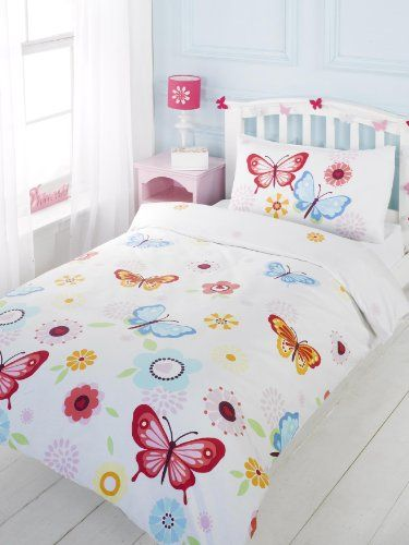 Girls Full Floral Butterfly White Red Blue Cotton Duvet Set Quilt Cover Pcj Supplies Http Www Amazon C Toddler Duvet Cover Duvet Cover Sets Bed Sets For Sale