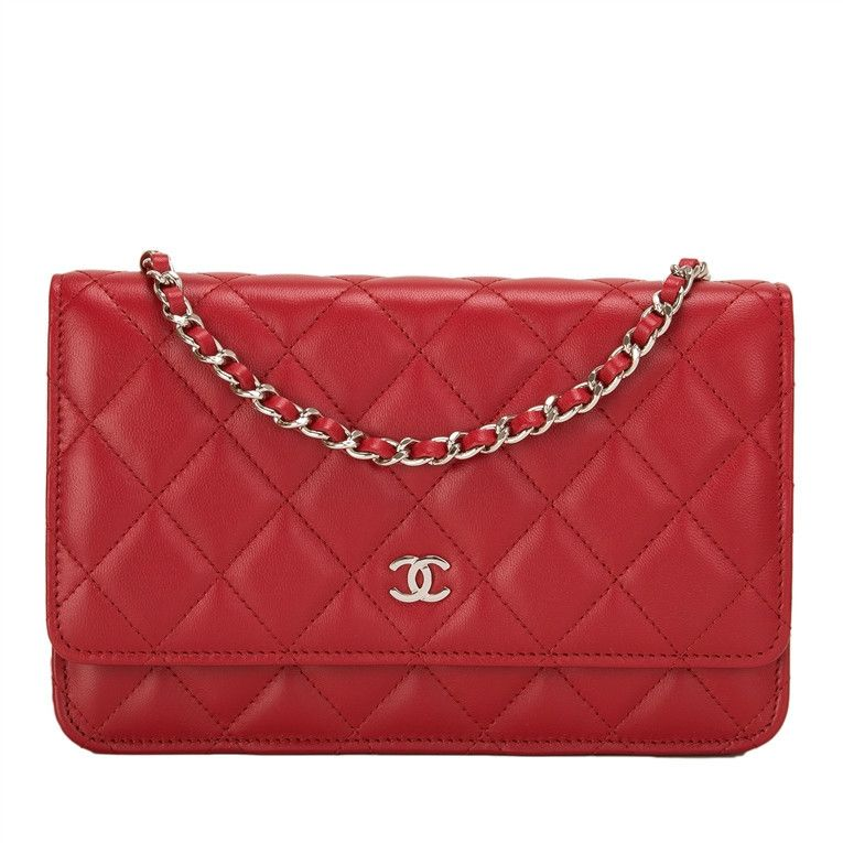 74111e021bba Chanel Classic Wallet on Chain (WOC) of red lambskin leather with silver  tone hardware. AVAILABLE NOW For purchase inquiries, Please Contact: Email:  ...