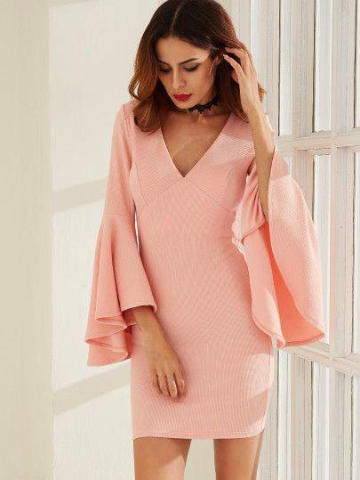 Kleid v ausschnitt glocken rmel rosa bekleidung for Shein frauen mode