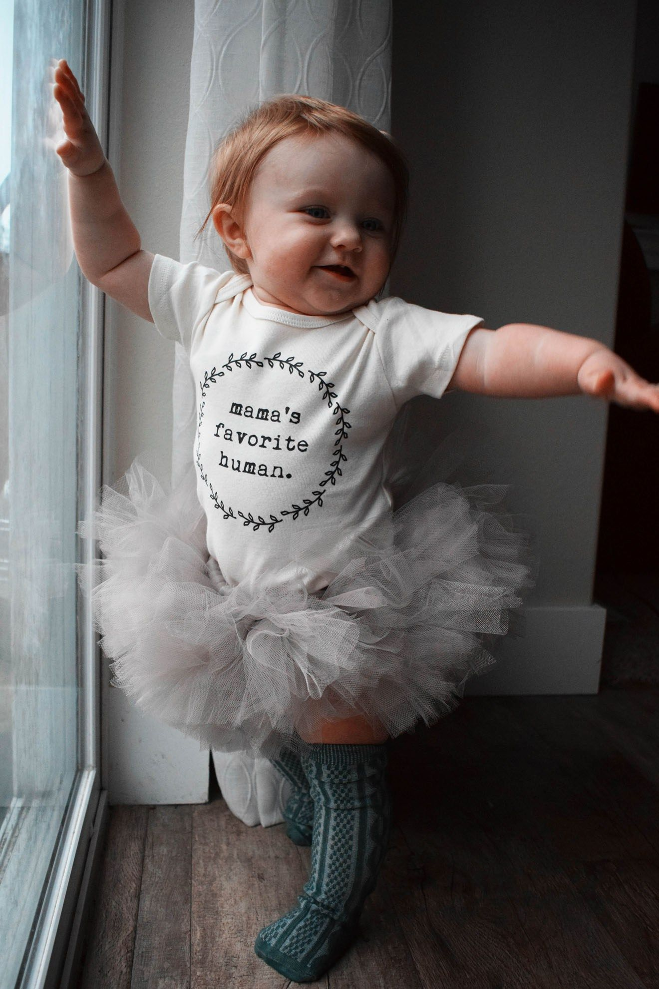 Shop small baby girl outfit mamas favorite human onsie from tenth and pine mini tutu from ellie n sophia tie dye socks from dye theory threads