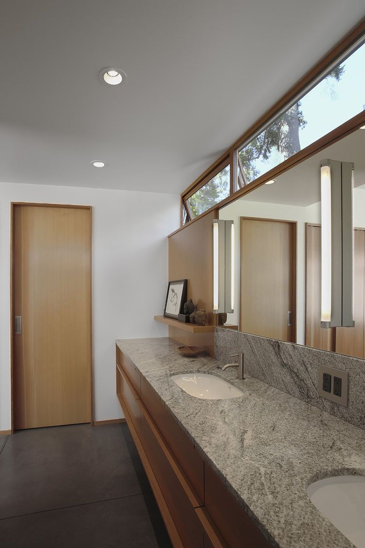 CLERESTORY WINDOW above vanity. Bathroom with Duravit sinks and Toto ...