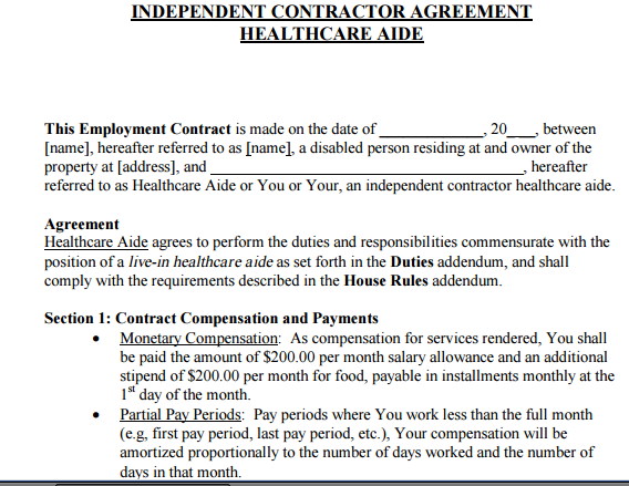 Independent Caregiver Contract Caregiver Contract For