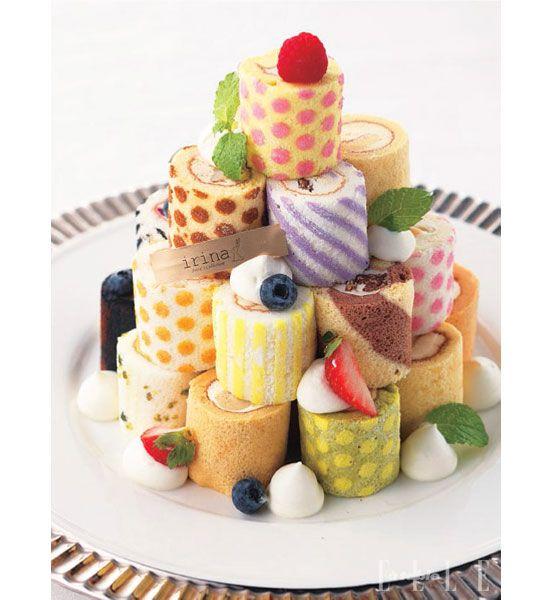 Super cute mini roulade tower swiss rolls pinterest p tisserie gateau roul et dessert - Decoration gateau suisse ...