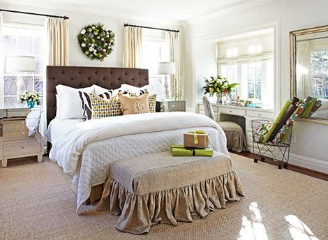 Linen Slipcovered Bench At Foot Of Bed Master Plan