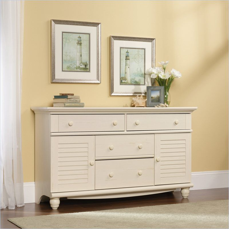 Sauder Harbor View Dresser In Antiqued White Furniture Home