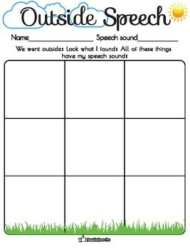 Outdoor Speech Therapy Worksheet Speech Therapy Worksheets