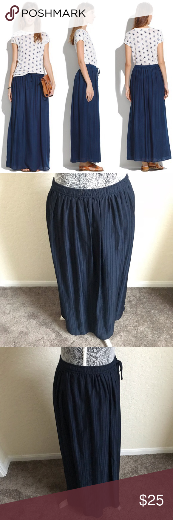 446eb9fd5 Madewell woman small skyward striped maxi skirt Madewell Woman's small Skyward  maxi skirt Dark blue Pinstriped Lined Flowly Drawstring waist Gently used  No ...