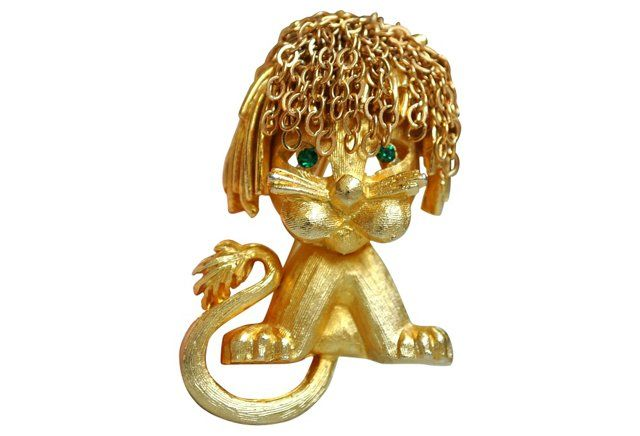Mandle Gold-Plated Lion Brooch