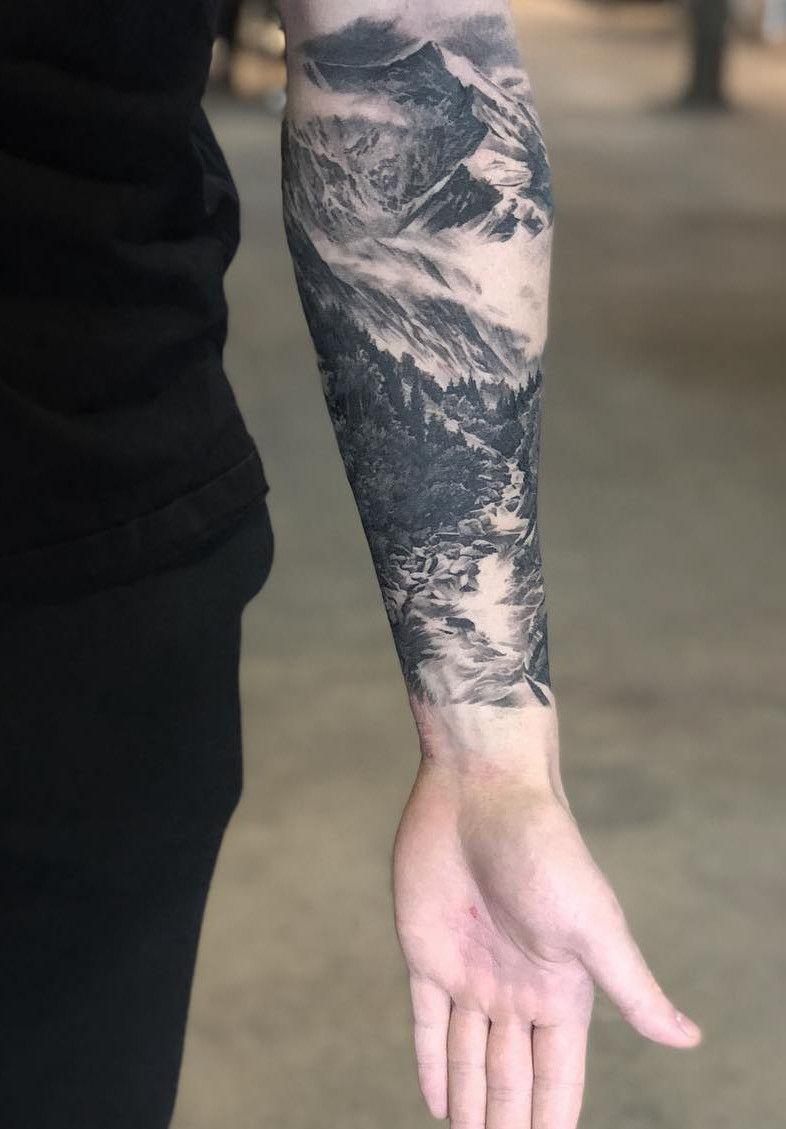Mountain Stream Forearm Tattoo Cool Forearm Tattoos Quarter Sleeve Tattoos Forearm Tattoo Men