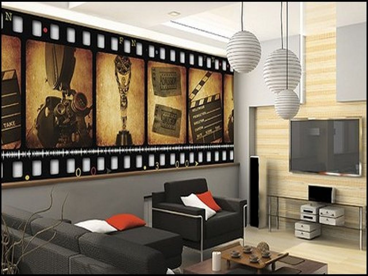Old Hollywood Wall Murals Home Theater Design Home Theater
