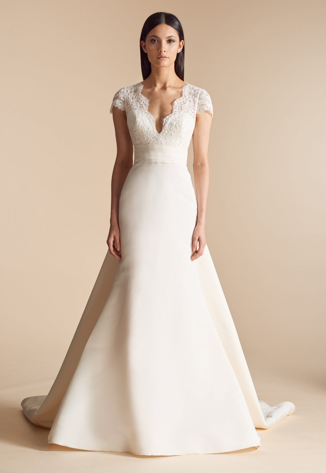 Fit And Flare Wedding Dress With Lace Bodice And V Neckline