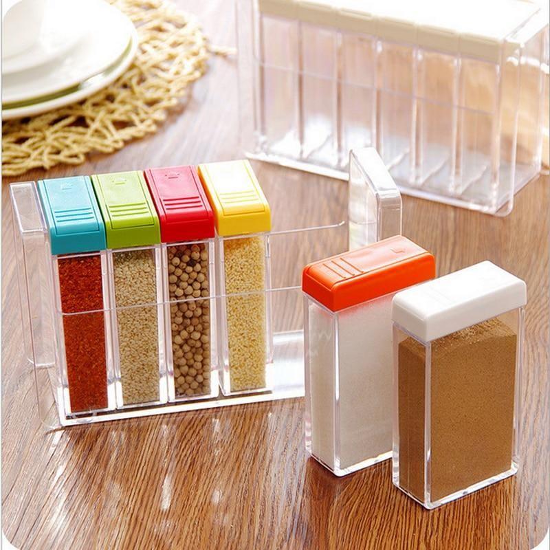 d18eff2d5a2 Kitchen Seasoning Bottles Jars Boxes Plastic Spice Lid Can Sugar Layers  Storage Organizer Box Home Organization Accessories Item