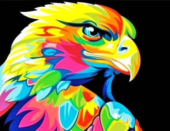 Rainbow Eagle BEADWORK Tapestry PATTERN, Peyote & Brick Stitch, Beading Patterns, Beaded Wall Hangings, Birds, Pride, Instant Digital Pdf