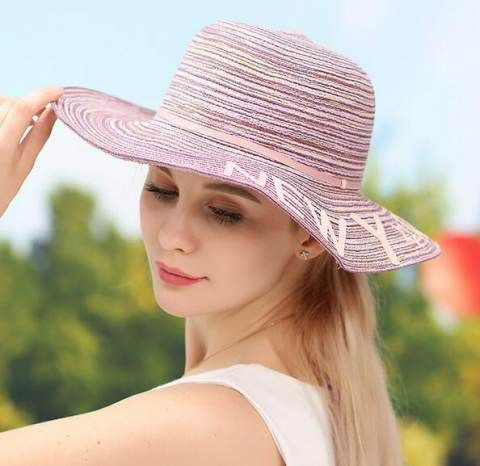 5614a1cd1f7 Letter wide brim hat for women straw sun hats breathable travel wear ...