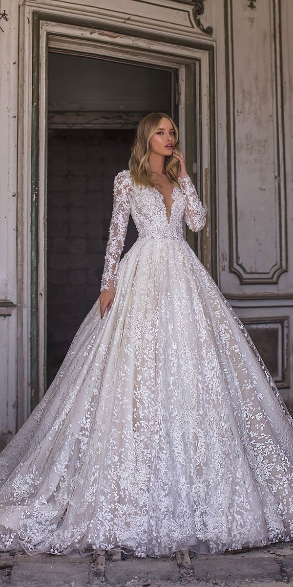 WONÁ Wedding Dresses Total Inspiration For 2020 ❤ wona wedding dresses ball gown with long sleeves v neckline lace sequins nelson