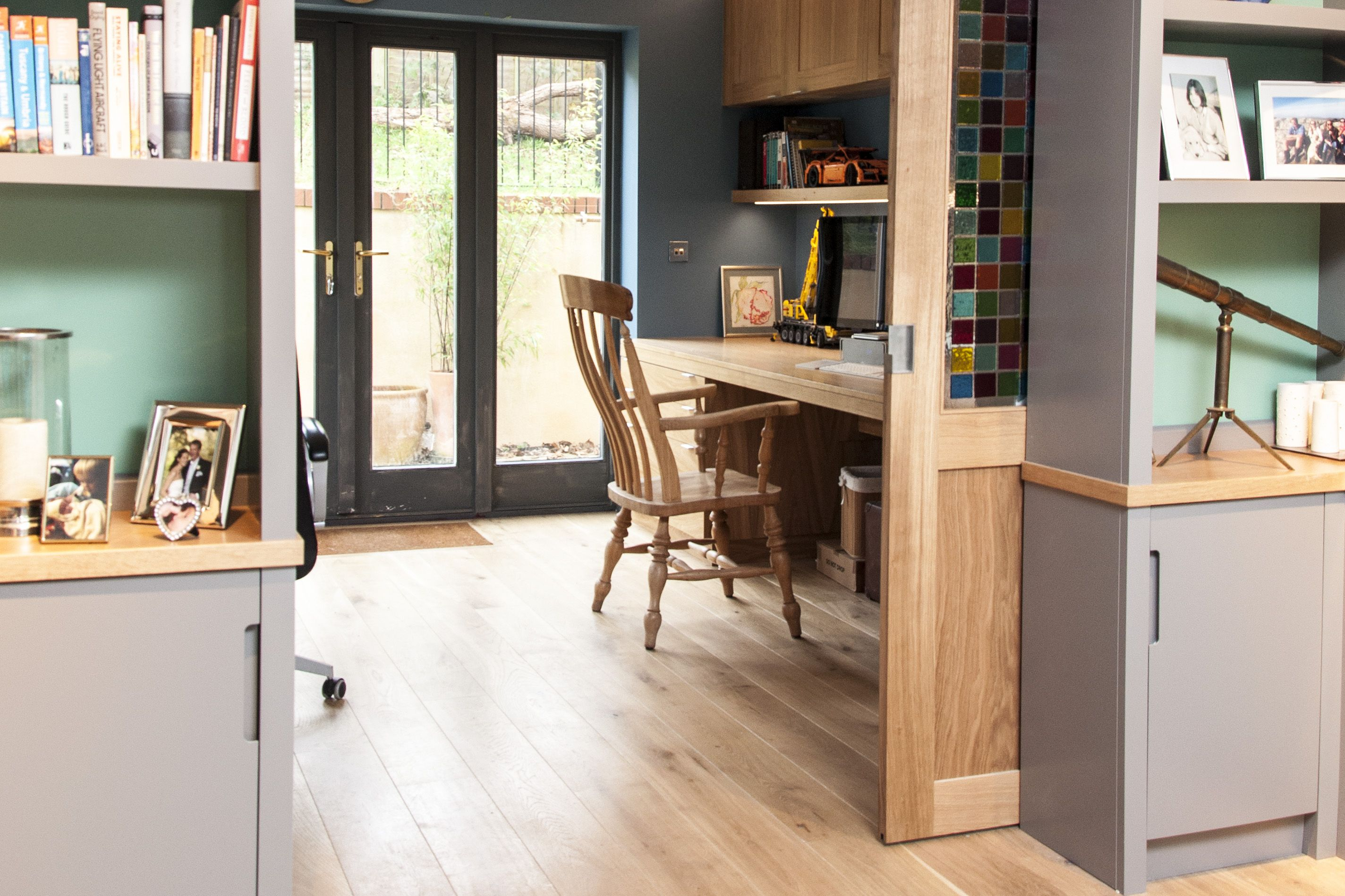 Contemporary Oak Study With Connecting Painted Bookcases And