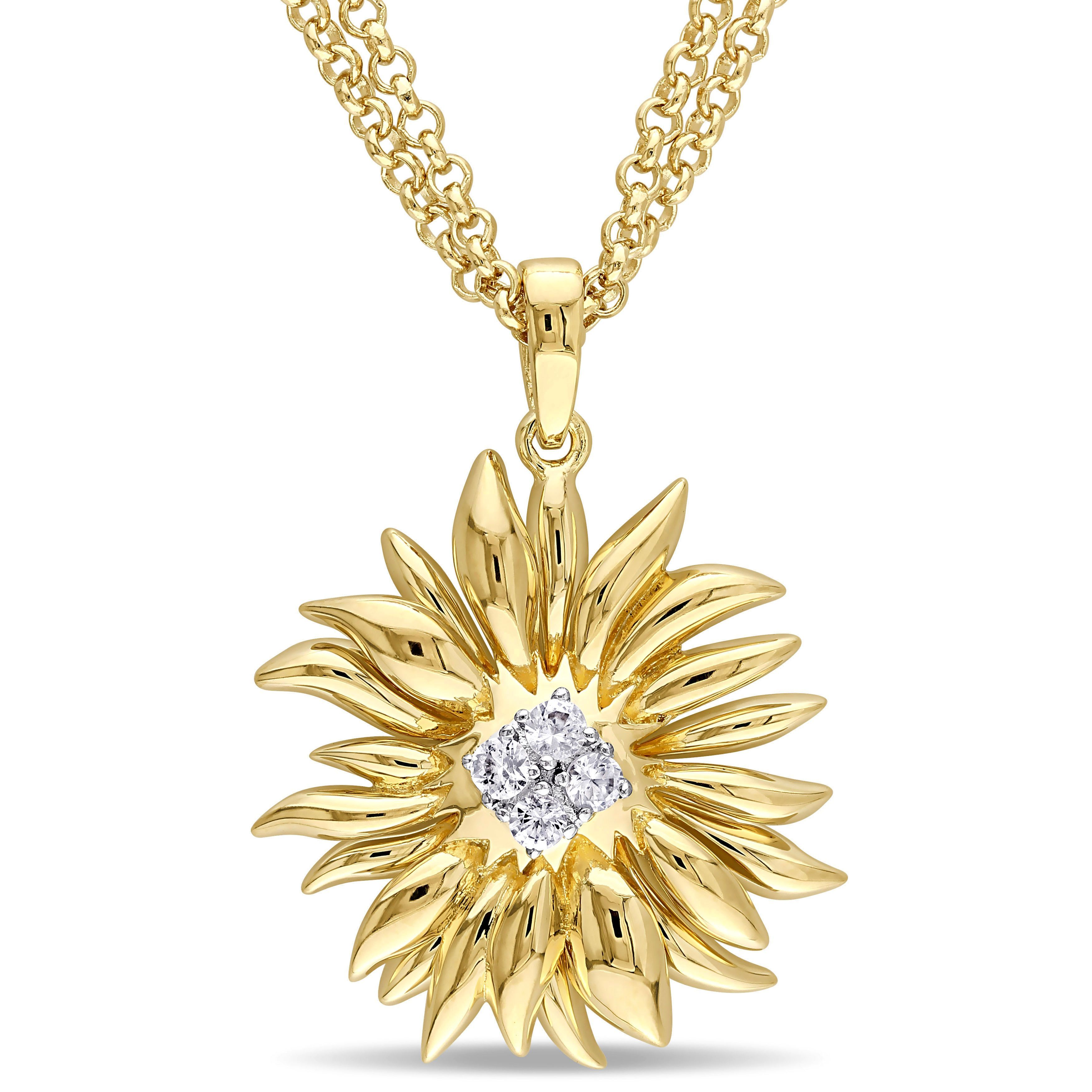 Versace 19.69 Abbigliamento Sportivo SRL Sapphire Sunflower Drop Necklace in 18k Yellow Gold Plated Sterling Silver, Women's