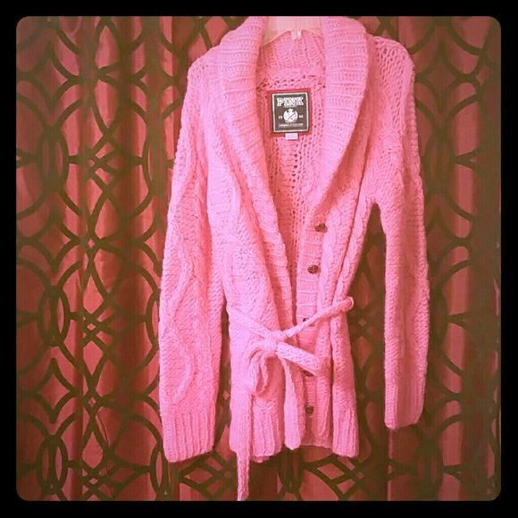 I don't really wear it Pink woven sweater very comfy and nice looking,  it has 5 bulky brown buttons PINK Victoria's Secret Jackets & Coats
