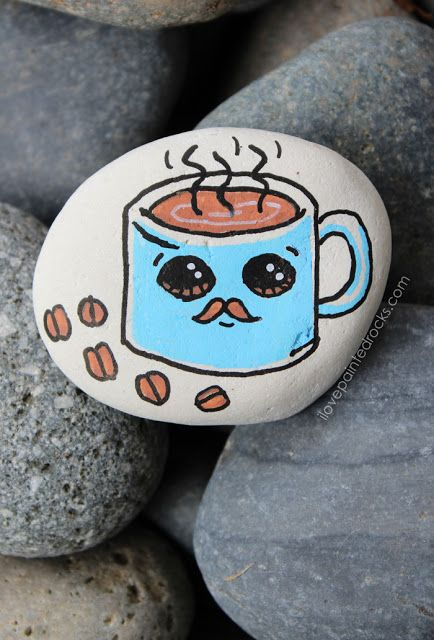 How To Paint A Cute Coffee Mug With A Mustache Rock