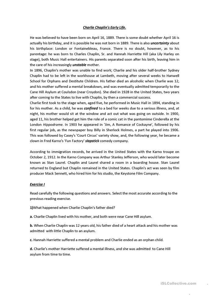 Printable ged reading comprehension
