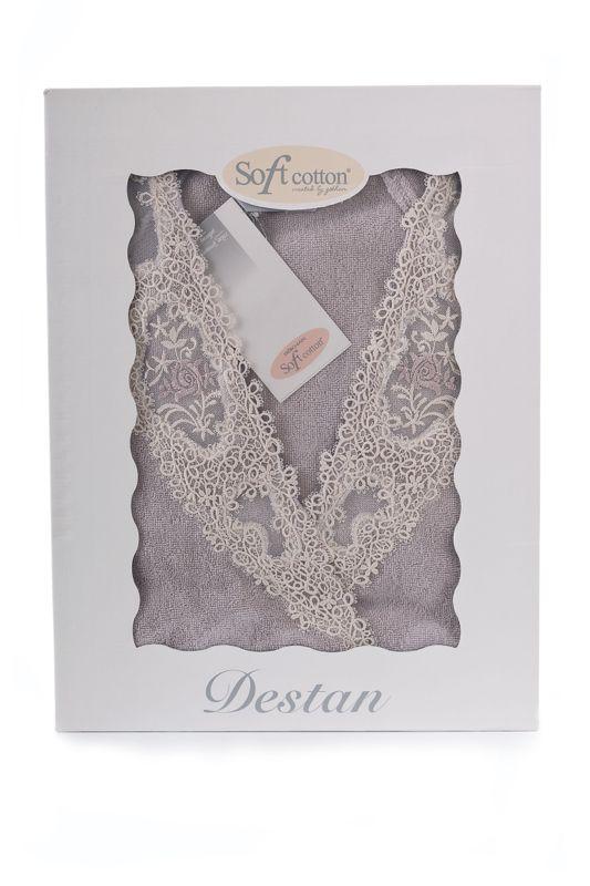 Elegantný froté dámsky župan DESTAN s čipkou vo farbe lila alebo staroružovej v darčekovom balenie.