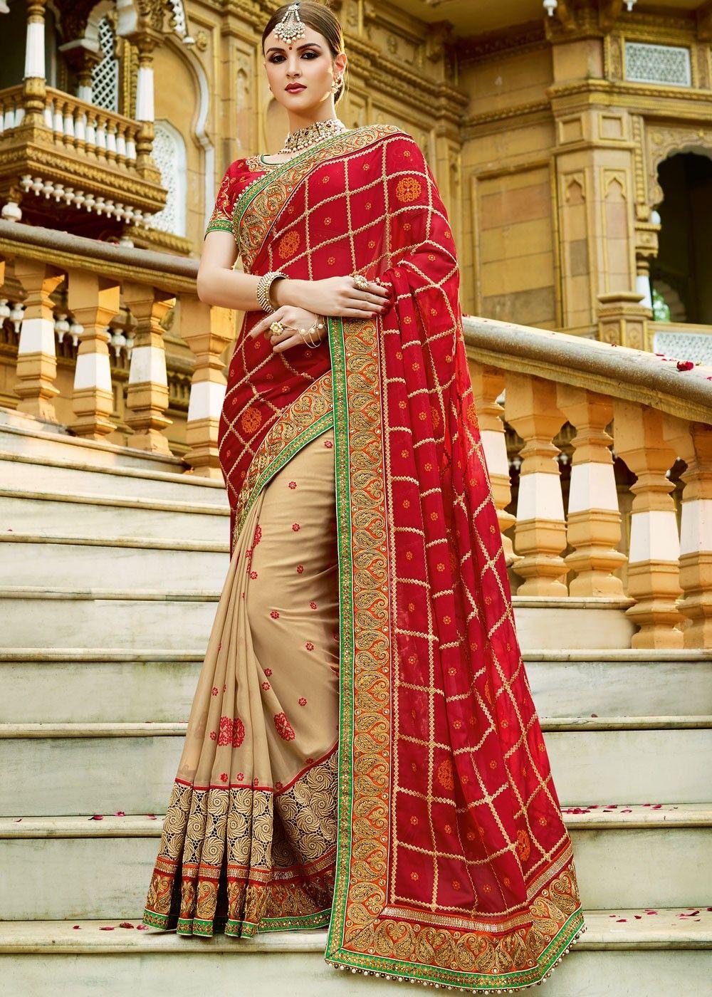 Red Georgette Half N Half Saree Half saree Stone work and Saree