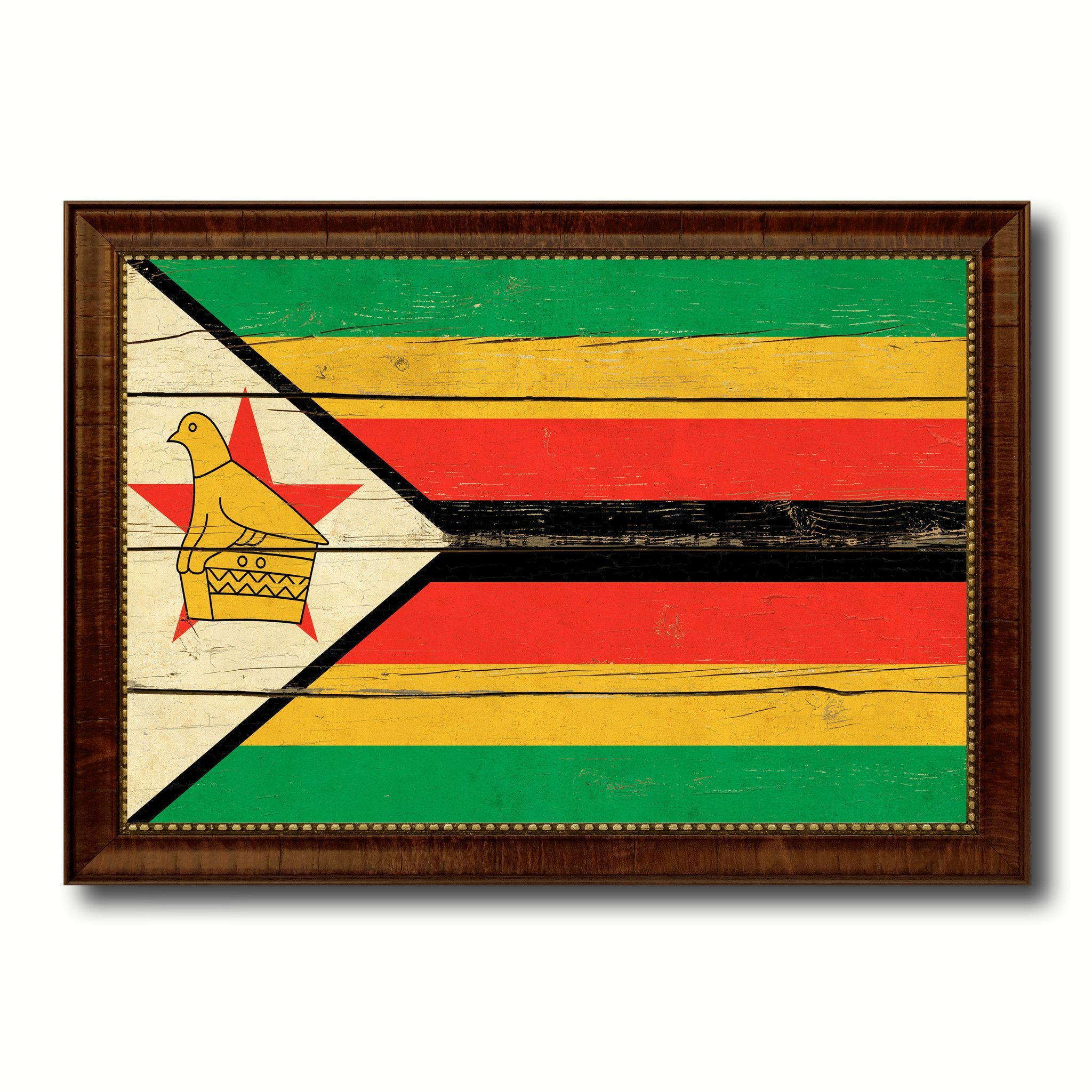 Zimbabwe Country Flag Vintage Canvas Print With Brown
