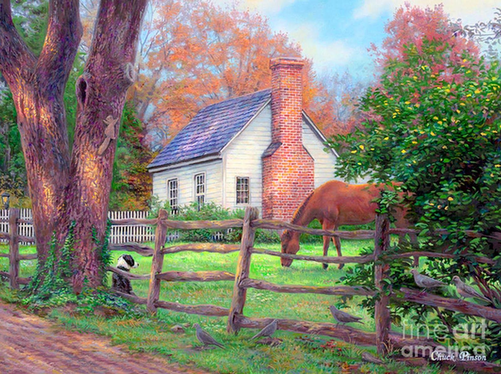 Casa de campo cuadro buscar con google cuadros casas for Pinturas para casas de campo